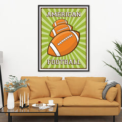 Ezposterprints - Three Balls | Retro Sports Series FOOTBALL Posters - 36x48 ambiance display photo sample