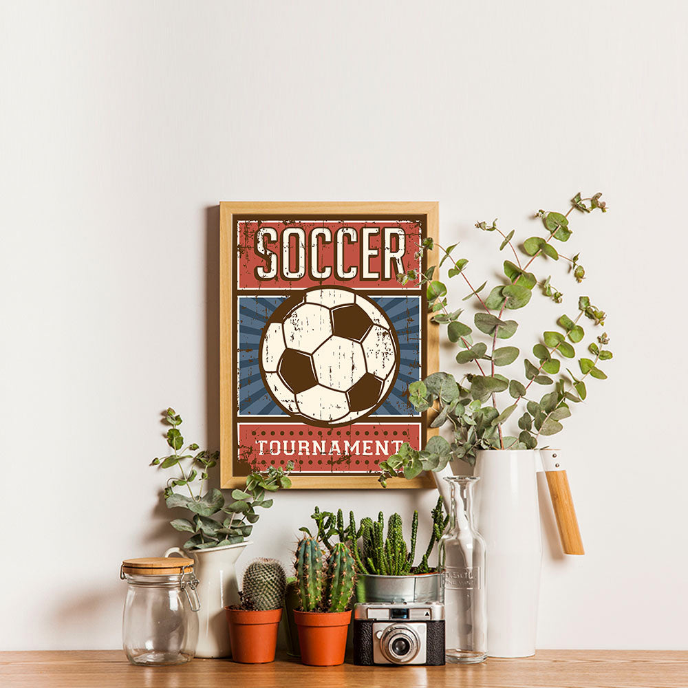 Ezposterprints - Ball Blue Red | Retro Sports Series SOCCER Posters - 12x16 ambiance display photo sample