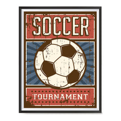 Ezposterprints - Ball Blue Red | Retro Sports Series SOCCER Posters with frame photo sample