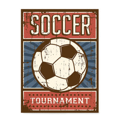Ezposterprints - Ball Blue Red | Retro Sports Series SOCCER Posters