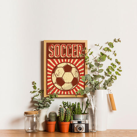 Ezposterprints - Ball Dark Red | Retro Sports Series SOCCER Posters - 12x16 ambiance display photo sample