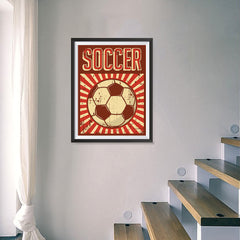 Ezposterprints - Ball Dark Red | Retro Sports Series SOCCER Posters - 18x24 ambiance display photo sample