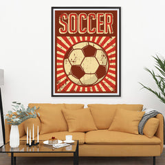 Ezposterprints - Ball Dark Red | Retro Sports Series SOCCER Posters - 36x48 ambiance display photo sample
