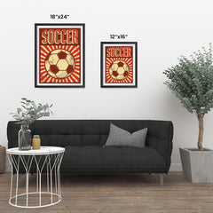 Ezposterprints - Ball Dark Red | Retro Sports Series SOCCER Posters ambiance display photo sample