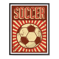Ezposterprints - Ball Dark Red | Retro Sports Series SOCCER Posters with frame photo sample