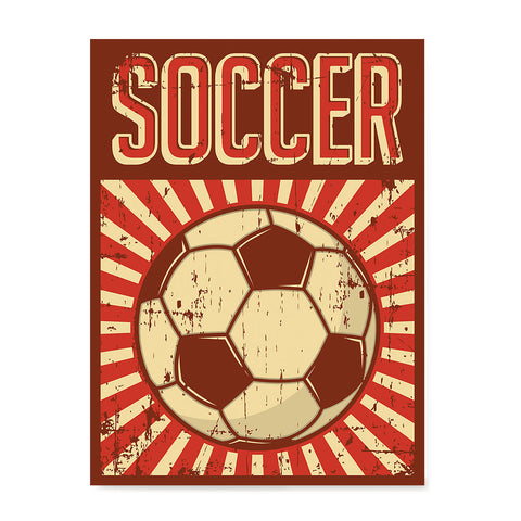 Ezposterprints - Ball Dark Red | Retro Sports Series SOCCER Posters