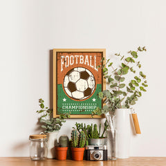 Ezposterprints - Ball Green Brown | Retro Sports Series SOCCER Posters - 12x16 ambiance display photo sample