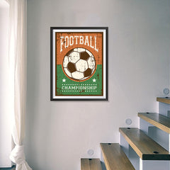 Ezposterprints - Ball Green Brown | Retro Sports Series SOCCER Posters - 18x24 ambiance display photo sample