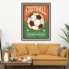 Ezposterprints - Ball Green Brown | Retro Sports Series SOCCER Posters - 36x48 ambiance display photo sample