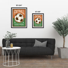 Ezposterprints - Ball Green Brown | Retro Sports Series SOCCER Posters ambiance display photo sample