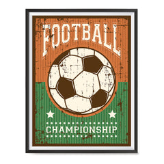 Ezposterprints - Ball Green Brown | Retro Sports Series SOCCER Posters with frame photo sample