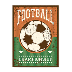 Ezposterprints - Ball Green Brown | Retro Sports Series SOCCER Posters