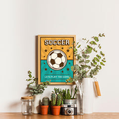 Ezposterprints - Ball Green Yellow | Retro Sports Series SOCCER Posters - 12x16 ambiance display photo sample