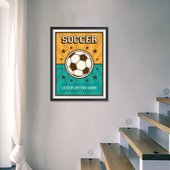 Ezposterprints - Ball Green Yellow | Retro Sports Series SOCCER Posters - 18x24 ambiance display photo sample