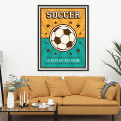 Ezposterprints - Ball Green Yellow | Retro Sports Series SOCCER Posters - 36x48 ambiance display photo sample