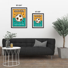 Ezposterprints - Ball Green Yellow | Retro Sports Series SOCCER Posters ambiance display photo sample