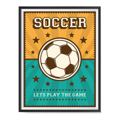 Ezposterprints - Ball Green Yellow | Retro Sports Series SOCCER Posters with frame photo sample