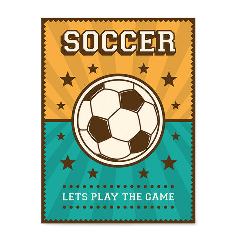 Ezposterprints - Ball Green Yellow | Retro Sports Series SOCCER Posters