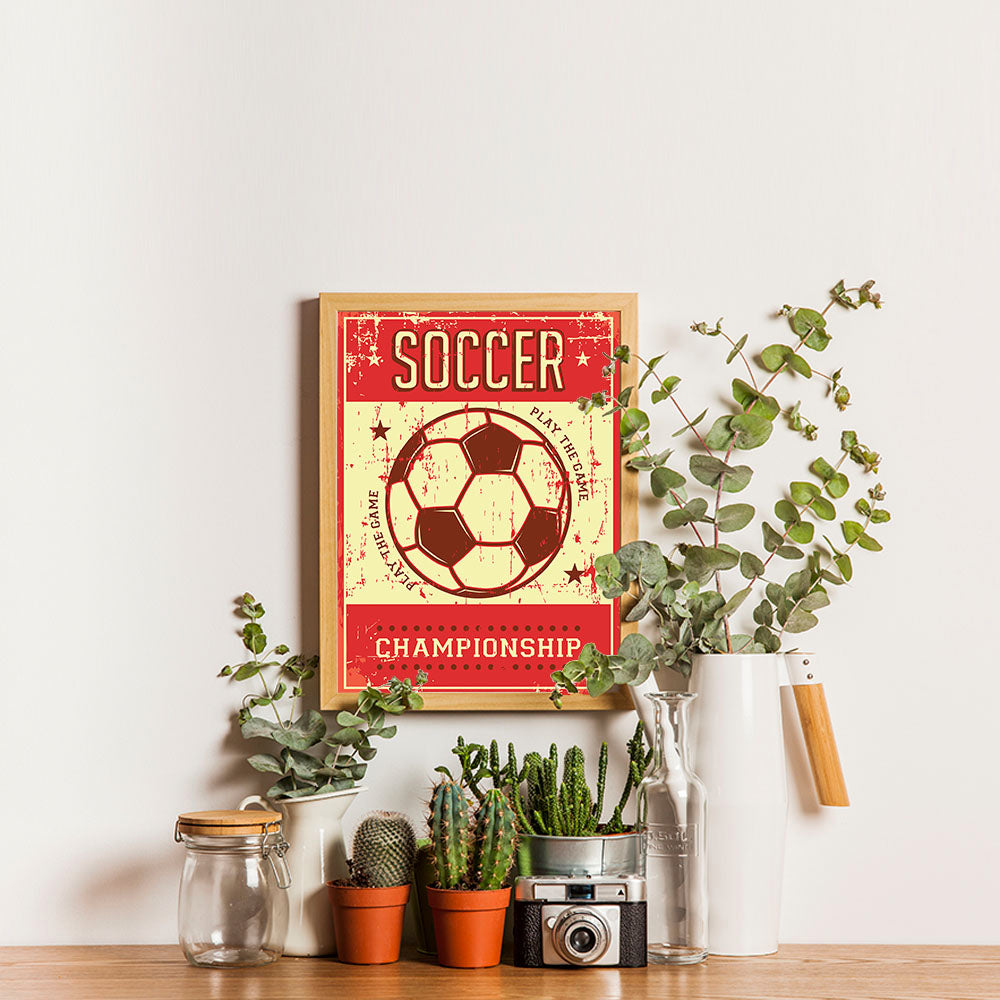 Ezposterprints - Ball Red | Retro Sports Series SOCCER Posters - 12x16 ambiance display photo sample