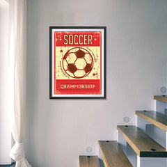 Ezposterprints - Ball Red | Retro Sports Series SOCCER Posters - 18x24 ambiance display photo sample