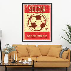 Ezposterprints - Ball Red | Retro Sports Series SOCCER Posters - 36x48 ambiance display photo sample