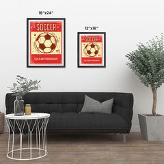 Ezposterprints - Ball Red | Retro Sports Series SOCCER Posters ambiance display photo sample