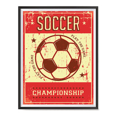 Ezposterprints - Ball Red | Retro Sports Series SOCCER Posters with frame photo sample