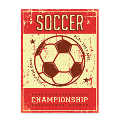 Ezposterprints - Ball Red | Retro Sports Series SOCCER Posters