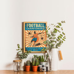 Ezposterprints - Player Blue Orange | Retro Sports Series SOCCER Posters - 12x16 ambiance display photo sample