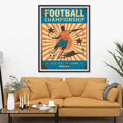 Ezposterprints - Player Blue Orange | Retro Sports Series SOCCER Posters - 36x48 ambiance display photo sample