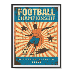 Ezposterprints - Player Blue Orange | Retro Sports Series SOCCER Posters with frame photo sample