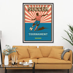 Ezposterprints - Player Blue Pink | Retro Sports Series SOCCER Posters - 36x48 ambiance display photo sample