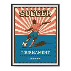 Ezposterprints - Player Blue Pink | Retro Sports Series SOCCER Posters with frame photo sample