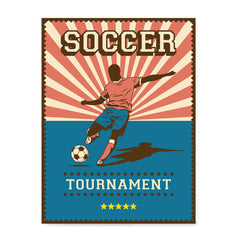 Ezposterprints - Player Blue Pink | Retro Sports Series SOCCER Posters