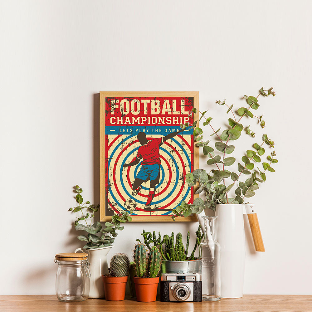 Ezposterprints - Player Blue Red | Retro Sports Series SOCCER Posters - 12x16 ambiance display photo sample