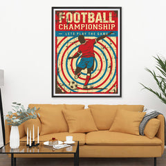 Ezposterprints - Player Blue Red | Retro Sports Series SOCCER Posters - 36x48 ambiance display photo sample