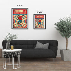 Ezposterprints - Player Blue Red | Retro Sports Series SOCCER Posters ambiance display photo sample