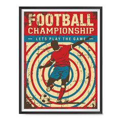 Ezposterprints - Player Blue Red | Retro Sports Series SOCCER Posters with frame photo sample