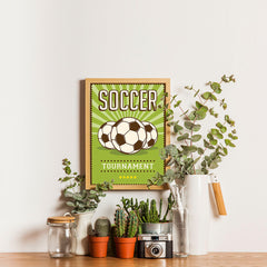 Ezposterprints - Three Balls | Retro Sports Series SOCCER Posters - 12x16 ambiance display photo sample