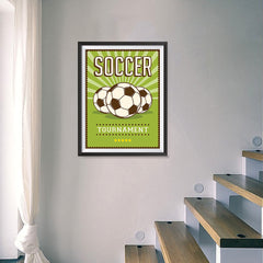 Ezposterprints - Three Balls | Retro Sports Series SOCCER Posters - 18x24 ambiance display photo sample