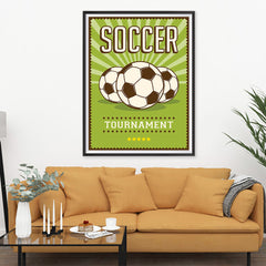 Ezposterprints - Three Balls | Retro Sports Series SOCCER Posters - 36x48 ambiance display photo sample