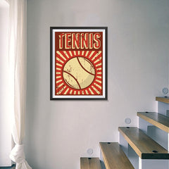 Ezposterprints - Ball Dark Red | Retro Sports Series TENNIS Posters - 18x24 ambiance display photo sample