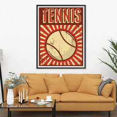 Ezposterprints - Ball Dark Red | Retro Sports Series TENNIS Posters - 36x48 ambiance display photo sample