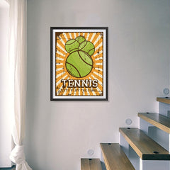 Ezposterprints - Four Balls | Retro Sports Series TENNIS Posters - 18x24 ambiance display photo sample