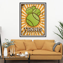 Ezposterprints - Four Balls | Retro Sports Series TENNIS Posters - 36x48 ambiance display photo sample