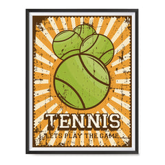 Ezposterprints - Four Balls | Retro Sports Series TENNIS Posters with frame photo sample