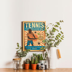 Ezposterprints - Player Blue | Retro Sports Series TENNIS Posters - 12x16 ambiance display photo sample