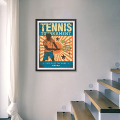 Ezposterprints - Player Blue | Retro Sports Series TENNIS Posters - 18x24 ambiance display photo sample