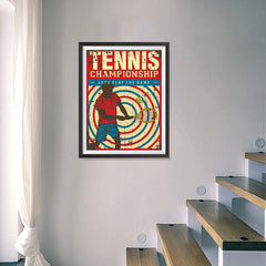 Ezposterprints - Player Blue Red | Retro Sports Series TENNIS Posters - 18x24 ambiance display photo sample