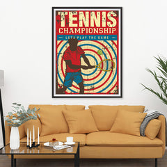 Ezposterprints - Player Blue Red | Retro Sports Series TENNIS Posters - 36x48 ambiance display photo sample